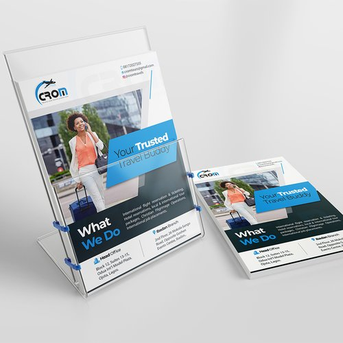 Flyer design and production for travel agency